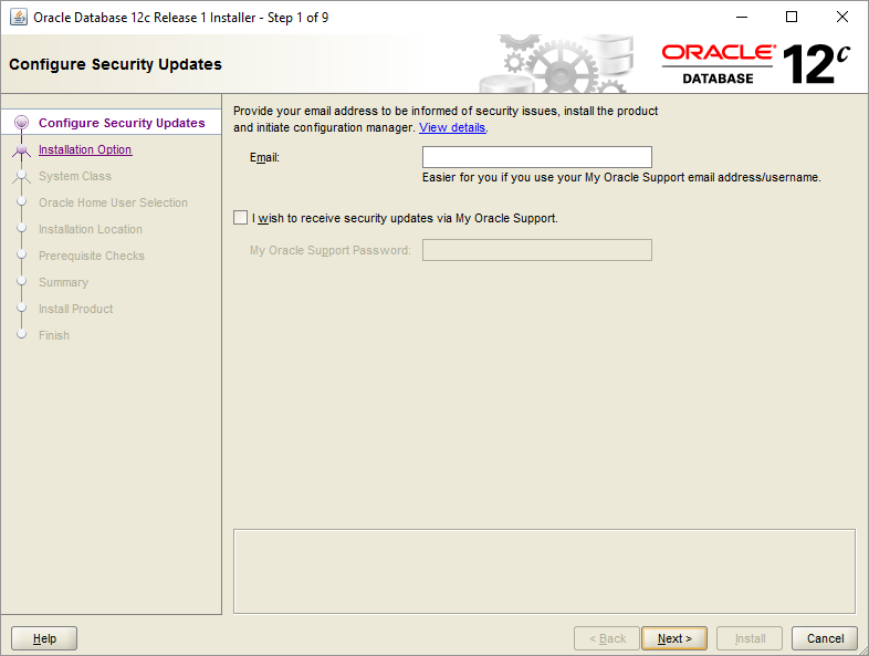 Install Oracle Database - Step 1