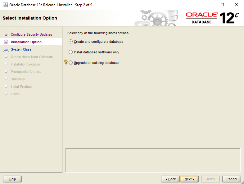 Install Oracle Database - Step 2