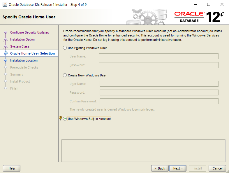 Install Oracle Database - Step 4