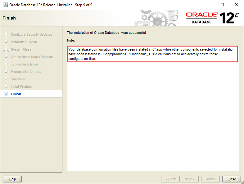 Install Oracle Database - Step 9