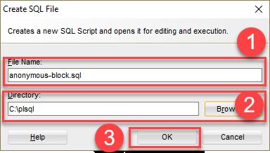 PL/SQL anonymous block - sql developer - create SQL file