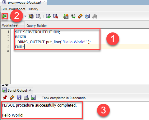PL/SQL anonymous block - SQL developer - execute PL/SQL Block