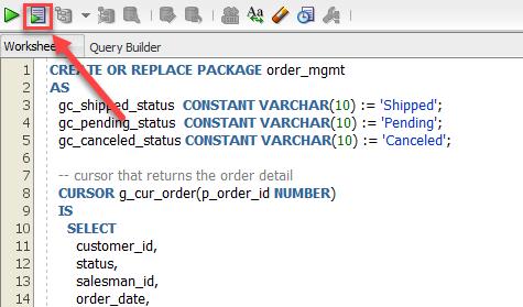 PL/SQL package specification compile using SQL Developer