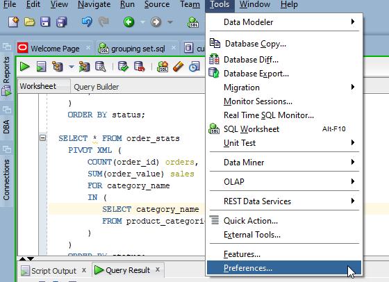 SQL Developer Tool - Preferences