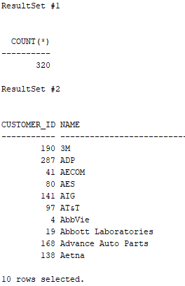oracle implicit statement result - multiple result sets example
